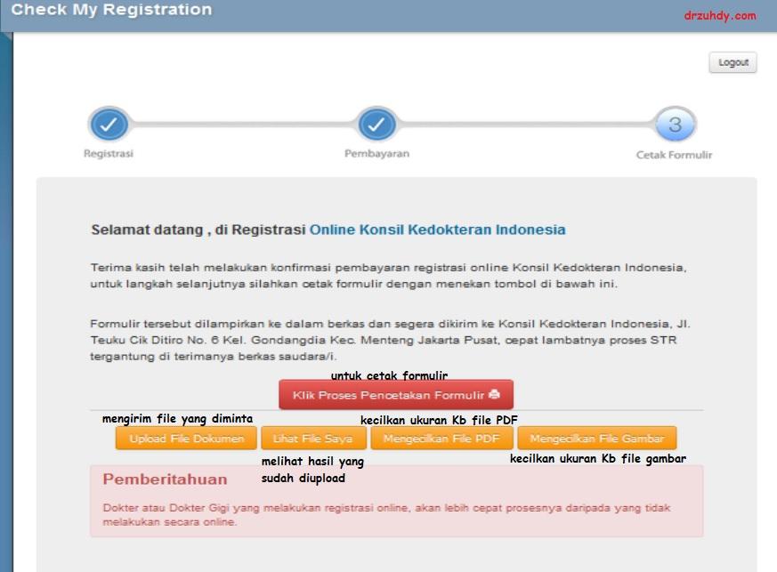 Cara cetak dan upload file dokumen pendukung STR