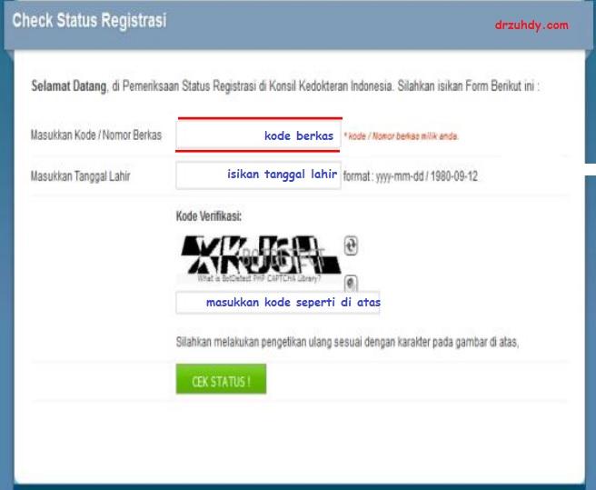 menu cek status registrasi STR online